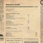 Nápojový lístek Restaurace U Pešíků